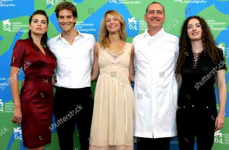 (l/r) French Actress Cecile Cassel French Actor Andy Gillet Belgium Actress Stephanie Crayencour French Actor Serge Renko and Mathilde Mosnier Pose For a Photo on the Red Carpet in Ocasion of the Presentation of the Movie 'Romance of Astrea and Celadon' at the Venice Film Festival in Venice Italy 01 September 2007 Italy Venice