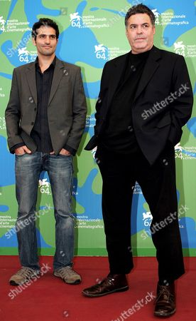 The Israeli Director Amos Gitai (r) Poses with Israeli Actor Liron Levo (l) After the Press Conference of the Presentation of His Movie 'Disengagement' not in Competition at the Venice Film Festival in Venice Italy 05 September 2007 Italy Venice