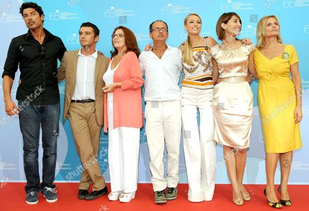 (l-r) Actors Alessandro Gassman Michele Venitucci Valeria Fabrizi the Filmmaker Pappi Corsicato Actresses Martina Stella Caterina Murino and Isabella Ferrari During the Photo-call at the End of the Press Conference of the Film: 'Il Seme Della Discordia' Presented in the Official Competition at 65th International Venice Film Festival in Venice Italy 05 September 2008 the Festival is Scheduled For 27 August to 06 September 2008 Epa/claudio Onorati Italy Venice