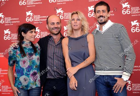 Stock Photo of The Actors (from Left) Antonia Truppo Giovanni Ludeno Margherita Buy and Gaetano Bruno Pose During a Photocall For 'The White Space' at the 66th Venice Film Festival in Venice Italy 08 September 2009 the Film is Presented in Competition at the Festival Which Will Run Until 12 September Italy Venice
