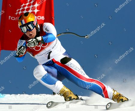 French Skier Carole Montillet-carles in Action During the Women' S Downhill Tests in Cesana San Sicario at the Turin Winter Olympic Games 13 February 2006 Montilles-carles Got Injured During the Downhill Italy San Sicario