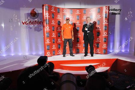 Lewis Hamilton with TV sports presenter Steve Ryder