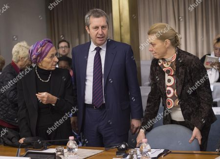 (L-R) Former Italian Foreign Minister Emma Bonino, Italian Foreign Ministry Undersecretary Benedetto Della Vedova and Italian Foreign Ministry Secretary General Elisabetta Belloni attend the conference 'Worldwide Ban on Female Genital Mutilation' at Farnesina Palace in Rome, Italy, 30 January 2017. Estimates by the World Health Organization state that at present, more than 200 million women and girls alive around the globe have undergone the procedure which can cause severe injuries and complications.