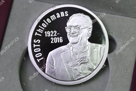 Editorial photo of Toots Thielemans commemorative coin, Brussels, Belgium - 30 Jan 2017