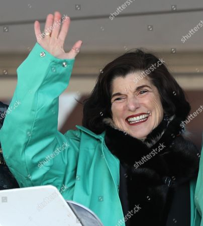 Luci Baines Johnson, daughter of the late President Lyndon B. Johnson, attends a keel laying ceremony at Bath Iron Works for the future USS Lyndon B. Johnson, at BIW in Bath, Maine