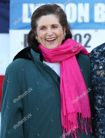 Lynda Johnson Robb, daughters of the late President Lyndon B. Johnson, attends a keel laying ceremony at Bath Iron Works for the future USS Lyndon B. Johnson, at BIW in Bath, Maine
