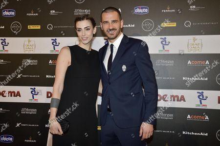 "Juventus FC's Italian defender Leonardo Bonucci his wife Martina Maccari during the 2017 edition of the ""Gran Gala Football AIC"", organized by the Italian Footballers Association, in Milan, Italy, 30 January 2017."