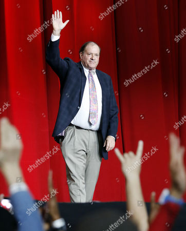 Chris Berman waves to the crowd at the Super Bowl 51 Opening Night event at Minute Maid Park in Houston, TX