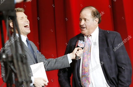 ESPN's Chris Berman is interviewed by at the Super Bowl 51 Opening Night event at Minute Maid Park in Houston, TX