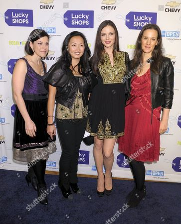 Vice President and Publisher of Lucky Magazine Gina Sanders, Ginny Barber, fashion designer Georgina Chapman and Editor in Chief of Lucky Magazine Kim France attend the 5th Annual Lucky Shops event to benefit Robin Hood, held at the Metropolitan Pavilion, Thursday, November 6, 2008 in