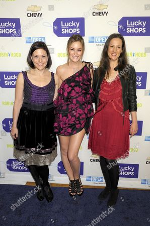 Vice President and Publisher of Lucky Magazine Gina Sanders, Leighton Meester and Editor in Chief of Lucky Magazine Kim France
