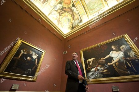 Italian Minister of Cultural Heritage Giancarlo Galan Stands Between Two Caravaggio Artworks Entitled Narciso (l) and Giuditta E Oloferne During the Reopening of the Palazzo Barberini in Rome Italy 28 June 2011 the Palace That Houses the Galleria Nazionale Di Arte Antica (national Gallery of Ancient Art) was Reopened After 60 Years of Restoration Italy Rome