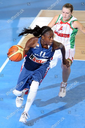 Emilie Gomis of France (l) Dribbles Contested by Volha Padabed (r) of Belarus During Their Eurobasket Women 2007 Match in Ortona Italy Late 29 September 2007 Italy Ortona
