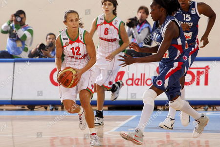 Natalia Marchanka (l) of Russia Dribbles Against Emilie Gomis (r) of France During Their Eurobasket Women 2007 Match in Ortona Italy Late 29 September 2007 Italy Ortona