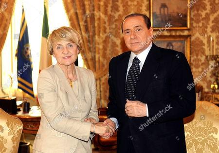 Italian Premier Silvio Berlusconi (r) with the European Commissioner For Regional Policy Danuta Hubner 14 May 2009 at Palazzo Chigi Rome Italy Italy Rome