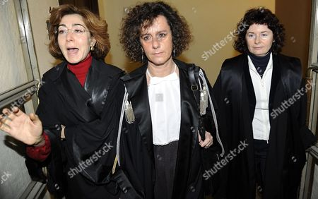 The Three Judges who Will Oversee the Trial of Italian Prime Minister Silvio Berlusconi Giulia Turri (c) Carmen D'elia (left) and Ursulina De Cristofaro Arrive at the Palace of Justice in Milan 16 February 2011 the Fast-track Trial Will Start on 6 April when the Premier Faces Charges of Paying an Underage Girl For Sex and Abuse of Office Berlusconi is not Obliged to Appear in Person Italy Milan