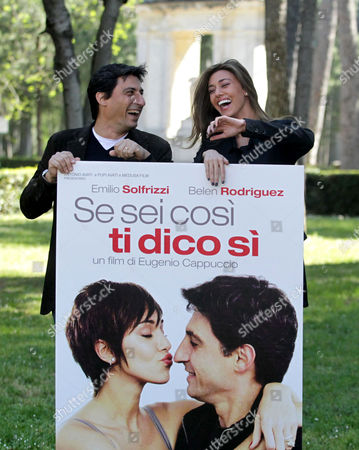 Italian Actor Emilio Solfrizzi (l) and Argentinian Model and Actress Belen Rodriguez (r) Pose During a Photocall For the Movie 'Se Sei Cosi Ti Dico Si' in Rome Italy 13 April 2011 the Movie by Italian Director Eugenio Cappuccio Wiill Be Released on 15 April 2011 in Italy Italy Rome
