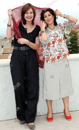Iranian Actress Fatemeh Motamed-arya (r) Poses with the Festival's Director Us Film Critic Deborah Young (l) During a Photocall at the Taormina Film Fest 2010 in Taormina Sicily Southern Italy 15 June 2010 Motamed-arya Will Accept the Taormina Arte Award on Behalf of Iranian Director Jafar Panahi Later the Same Day the 56th Edition of the Festival Runs From 12 Until 18 June Italy Taormina