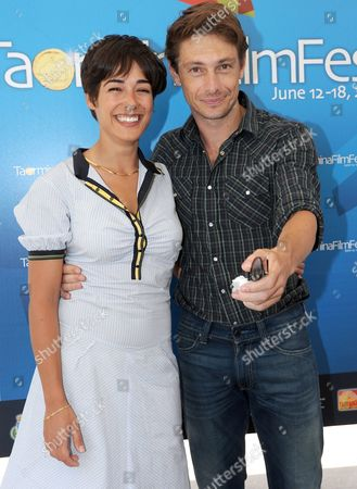 Italian Actor Giorgio Pasotti and French Actress Diane Fleri (l) Pose For a Photo After the 'Campus Taormina' with Students in Taormina on Island Sicily Southern Italy 16 June 2010 the 56th Edition of the Taormina Film Festival is Held From 12 Until 18 June 2010 Italy Taormina