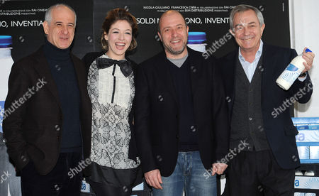 Stock Photo of (l-r) Cast Members and Italian Actor Toni Servillo British Actress Sarah Felberbaum Italian Director Andrea Molaioli and Italian Actor Remo Girone Pose During a Photocall For the Movie 'Il Gioiellino' (the Gem) in Rome Italy 01 March 2011 the Movie by Italian Director Andrea Molaioli Will Premiere in Italy on 04 March 2011 Italy Rome