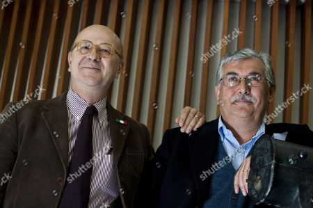 Stock Photo of Italian Journalists and Writers Sergio Rizzo (l) and Gian Antonio Stella Pose For the Media During the Photocall of Their Film 'Silvio Forever' at Rome's Quattro Fontane Cinema in Rome Italy 22 March 2011 the Movie Directed by Italian Roberto Faenza and Filippo Macelloni Will Be Released on Italian Theatres on 25 March 2011 Italy Roma