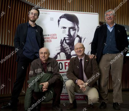 Stock Picture of From (l-r) Italian Film Directors Filippo Macelloni and Roberto Faenza and Italian Writers Sergio Rizzo and Gian Antonio Stella Pose During the Photocall of Their Film 'Silvio Forever' at Rome's Quattro Fontane Cinema in Rome Italy 22 March 2011 the Movie is a Documentary About Prime Minister Silvio Berlusconi Will Be Released on Italian Theatres on 25 March 2011 Italy Roma