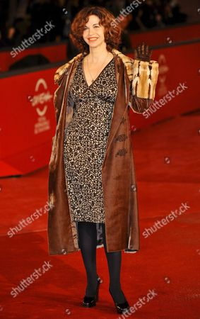 Italian Actress Anna Galiena Poses on the Red Carpet As She Arrives at Rome's Park of the Music Auditorium Late 27 October 2008 For the Screenings of the Films at the 3rd Rome International Film Festival in Rome Italy Italy Rome