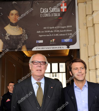 Emanuele Filiberto Di Savoia (r) and Vittorio Emanuele (l) Visit the Exhibition 'Casa Savoia E L'unita D'italia' (lit : House of Savoy and the Unification of Italy) at the Palazzo Saluzzo Di Carde in Turin Italy 03 May 2010 the Exhibition Held on the Occasion of the the 150th Anniversary of the Unification of Italy Runs Until 15 June Italy Torino