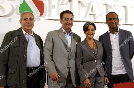 (l-r) Editorial Director Paolo De Andreis Us Actor Andy Garcia Patrizia Mirigliani Daughter of Enzo Mirigliani the Inventor of Teh Contest and Italian Presenter Carlo Conti During the Press Conference of the Beauty Contest of Miss Italia 2008 at Congress Palace in Salsomaggiore Terme Italy 13 September 2008 Italy Salsomaggiore Terme