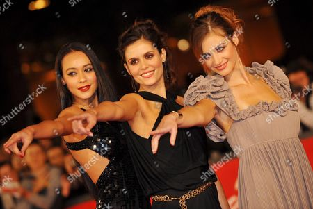 (l-r) Aactresses Desiree Noferini Chiara Chiti and Nadir Caselli Pose For a Photo on the Red Carpet Prior the Screening of the Film 'Un Gioco Da Ragazze' Directed by Matteo Rovere During the Third Edition of the Rome Film Festival on 25 October 2008 in Rome Italy Italy Rome