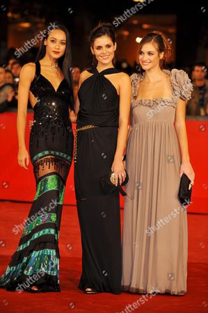(l-r) Actresses Desiree Noferini Chiara Chiti and Nadir Caselli Pose For a Photo on the Red Carpet Prior the Screening of the Film 'Un Gioco Da Ragazze' Directed by Matteo Rovere During the Third Edition of the Rome Film Festival on 25 October 2008 in Rome Italy Italy Rome