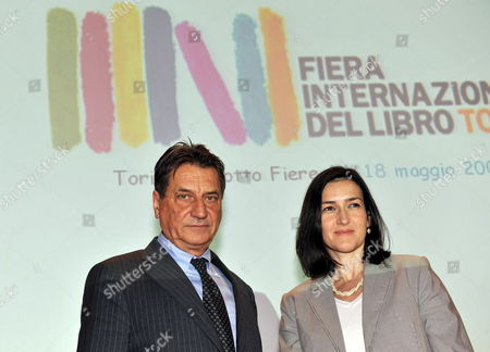 Stock Picture of Italian Writer Claudio Magris (l) and Spanish Culture Minister Ageles Gonzales-sinde Pose For a Photo at Turin's International Book Fair on 16 May 2009 Ageles Gonzales-sinde Awarded Magris with the Arts and Letters Spain Order Italy Turin
