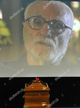 Stock Image of The Coffin of Italian Director Mario Monicelli During His Funeral in Monti Rome Italy 01 December 2010 Monicelli Committed Suicide on 29 November 2010 He was 95 Years Old Italy Rome
