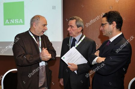 Moroccan-born Writer Tahar Ben Jelloun (l) Talks with Italian News Agency Ansa President Giulio Anselmi (c) and Editor-in-chief Luigi Contu (r) at the Ansamed Conference in Rome Italy 27 January 2011 Italy Rome