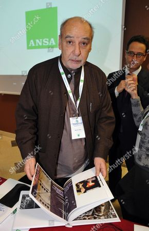 Moroccan-born Writer Tahar Ben Jelloun Attends the Ansamed Conference in Rome Italy 27 January 2011 on the Right is Italian News Agency Ansa Editor-in-chief Luigi Contu the Confernce was Organized by Ansa Italy Rome