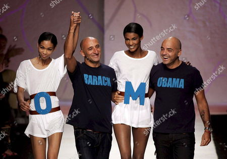Designers Maurizio Monica (2-l) and Pierfrancesco Gigliotti (r) with Models on the Catwalk After the Presentation of Their Frankie Morello Ready-to-wear Collection Spring-summer 2009 at the Milano Moda Donna 21 September 2008 in Milan Italy the Milan Fashion Week is Scheduled For 20 to 27 September 2008 Italy Milan