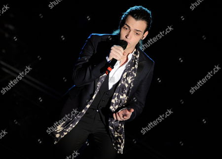 Italian Singer Valerio Scanu Performs During the First Evening of the 2010 Sanremo Italian Song Festival at the Ariston Theatre in Sanremo Italy 16 February 2010 the Festival Runs Until 20 February Italy Sanremo
