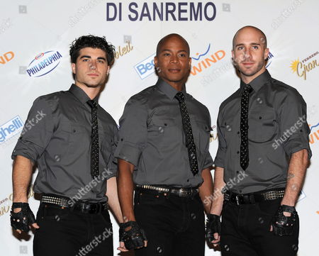 Stock Image of Dancers of Late Us Singer Michael Jackson Daniel Celebre (l-r) Travis Payne and Nicholas Bass Pose Prior to Their Press Conference During the 2010 Sanremo Italian Song Festival at the Ariston Theatre in Sanremo Italy 19 February 2010 the Festival Runs Until 20 Ferbuary Italy Sanremo