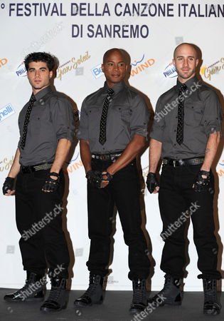 Stock Photo of Dancers of Late Us Singer Michael Jackson Daniel Celebre (l-r) Travis Payne and Nicholas Bass Pose Prior to Their Press Conference During the 2010 Sanremo Italian Song Festival at the Ariston Theatre in Sanremo Italy 19 February 2010 the Festival Runs Until 20 Ferbuary Italy Sanremo