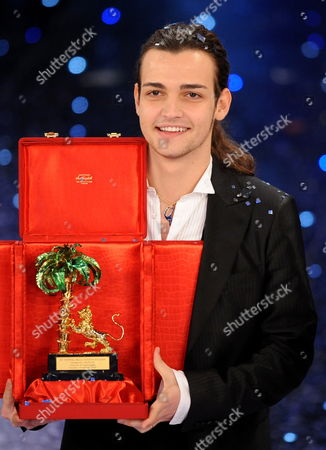 Italian Singer Valerio Scanu Winner of the 'Festival Di Sanremo' Italian Song Contest with His Award at the Ariston Theater in San Remo Italy on 20 February 2010 Italy Sanremo