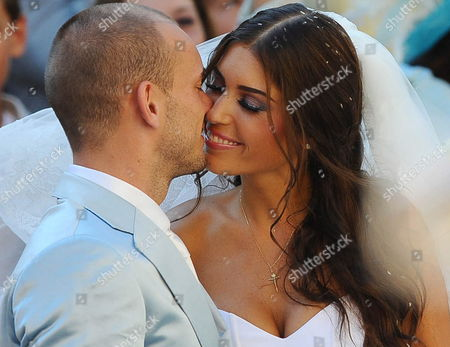 Dutch Midfielder Wesley Sneijder of Inter Milan and His Bride Dutch Actress and Model Yolanthe Cabau Van Kasbergen Kiss at the End of Their Wedding Ceremony in the Santi Giusto E Clemente's Church in Castelnuovo Berardenga in the Province of Siena Italy on 17 July 2010 Italy Castelnuovo Berardenga