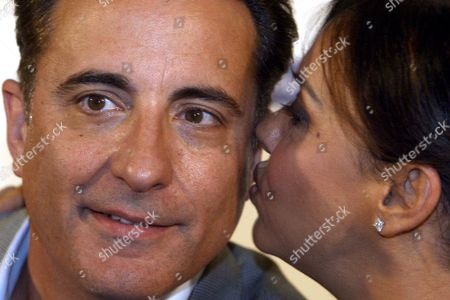 Us Actor Andy Garcia and Patrizia Mirigliani Daughter of Italian Tv Personality Enzo Mirigliani the Inventor of the Contest During the Press Conference of the Beauty Contest of Miss Italia 2008 at Palazzo Dei Congressi in Salsomaggiore Terme Italy 13 September 2008 Italy Salsomaggiore Terme