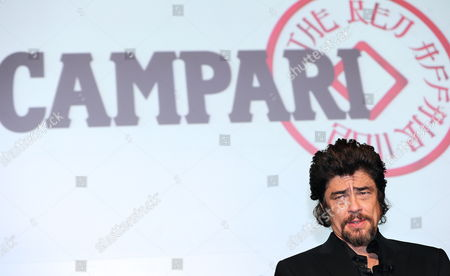 Puerto Rican Actor Benicio Del Toro Attends the Unveiling of the Campari Calendar 2011 Entitled the Red Affair in Milan Italy 21 October 2010 the Calendar was Shot by Swiss Photographer Michel Comte Italy Milan