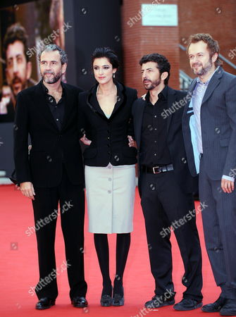 Spanish Director Alberto Rodriguez (2-r) Arrives with Spanish Actors and Cast Members Guillermo Toledo Blanca Romero and Tristan Ulloa at the Premiere of the Movie 'After' Presented in the Official Competition of the 4th Annual Rome Film Festival in Rome Italy 17 October 2009 the Festival Runs From 15 to 23 October Italy Rome