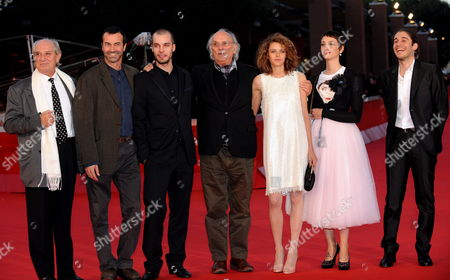 Italian Actors Vittorio Storaro (l-r) Producer Andrea Occhipinti Lorenzo Balducci Spanish Director Carlos Saura Emilia Verginelli Francesca Inaudi and Lino Guanciale Pose on the Red Carpet Prior to the Screening of Their Film 'Io Don Giovanni' at the Fourth Rome International Film Festival 20 October 2009 in Rome Italy the Movie is Presented out of Competition at the Festival Running Until 23 October Italy Rome