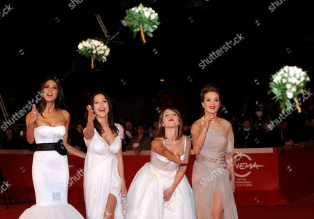 From Left: Actresses Moran Atias Gabriella Pession Isabella Ragonese and Carolina Crescentini Pose on the Red Carpet As They Arrive at the Screening of the Film 'Oggi Sposi' Directed by Luca Lucini Presented out of Competition at the 4th Rome International Film Festival Italy on 20 October 2009 Italy Rome
