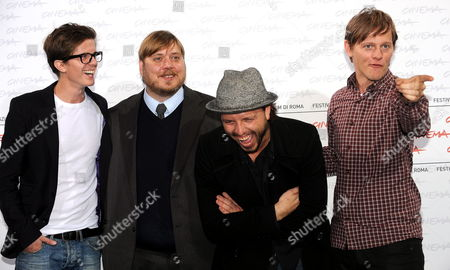 Danish Director Nicolo Donato (2-r) Poses For Photographs with (l-r) Actors and Cast Members Mortens Holst Nicolas Bro As They Attend the Photocall of the Movie 'Broderskab' During the 4th Annual Rome Film Festival in Rome Italy 21 October 2009 the Movie is Presented in the Official Competition of the Festival Running Until 23 October Italy Rome