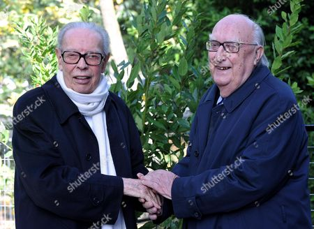 Italian Writer Andrea Camilleri (r) with Italian Cinema Critic Gianluigi Rondi at the Rome Film Festival Taking Place at the City's 'Music Park' Auditorium 05 November 2010 the Festival Runs From 28 October to 05 November Italy Rome