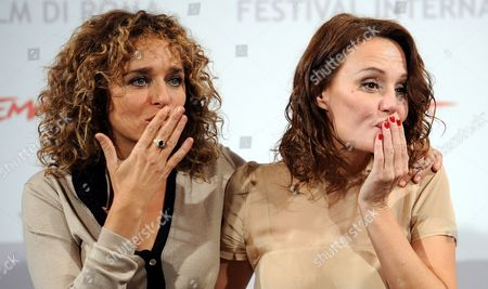 Italian Actresses and Cast Members Valeria Golino (l) and Antonella Ponziani Pose During the Photocall For the Movie 'La Scuola E' Finita' at the 5th Annual Rome Film Festival in Rome Italy 29 October 2010 the Movie by Italian Director Valerio Jalongo is Presented in the Official Competition of the Festival That Runs From 28 October to 05 November Italy Rome