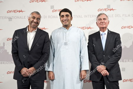 Stock Photo of Co Director Duane Baughman Chairman of the Pakistan Peoples Party Bilawal Zardari Bhutto and Us Director John O 'Hara Poses For Photographers During the Photocall of the Presentation of the Film 'Bhutto' at the Rome International Film Festival in Rome Italy 30 October 2010 the Movie is not Presented in the Official Competition of the Festival That Runs From 28 October to 05 November Italy Rome